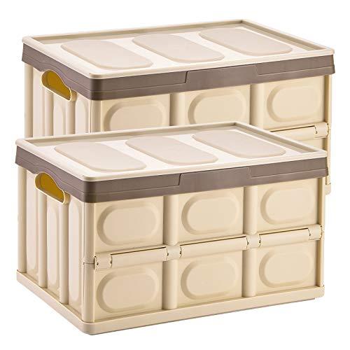 Yorbay 2 Stück Profi Klappbox Transportbox Aufbewahrungsbox mit Deckel und Handgriff aus Kunststoff Mehrweg 53x36x29 cm (55L, Braun)
