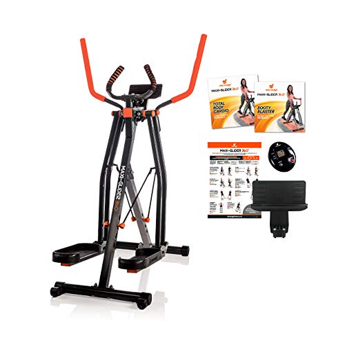 New Image Maxi-Glider 360, 10 in 1 Cross Trainer Cardio Workout 4 Levels of Resistance with Heart Rate Monitor, Grey