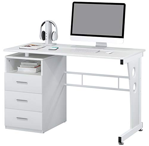 SixBros. Computerschreibtisch mit viel Stauraum, 3 Schubladen, Schreibtisch in weiß, 120 x 58 cm S-352/2073