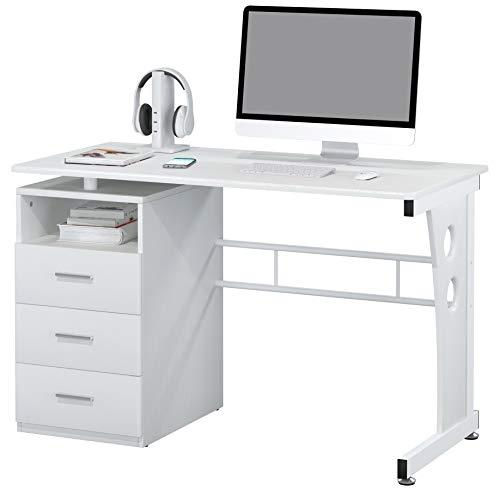 SixBros. Schreibtisch mit 3 Schubladen, Bürotisch in weiß, Büro & Home Office, 120 x 58 cm S-352/2073