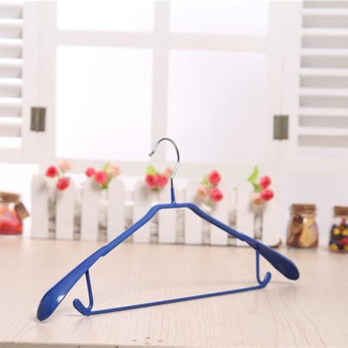 抵当スペイン語五月ノンスリップアンフックハンガー、ウェット&ドライ、多機能衣服ハンガー、大人のプラスチック服ラック10卸売。 (Color : ブルー)
