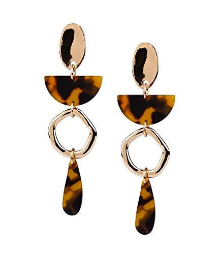 SIX Damen Ohrringe, Ohrhänger mit goldenen Steckern und Elementen in Hornoptik, fließender Statement-Ohrring (784-199)