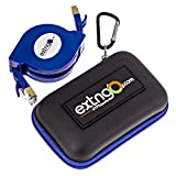 EXTNGO CAT7 4Ft Retractable Ethernet Cable, 10 Gbps Speed, FTP Foil Screened Twisted Pair. Pocket Size, Protection Pouch, Distinctive Blue Flat Cable and Body Color, Daily use for Swift Network Setup