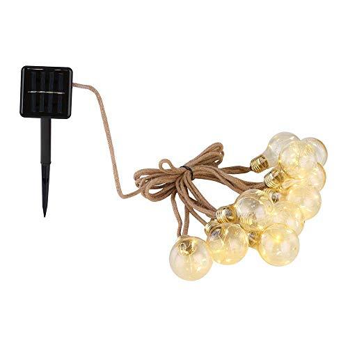 Cadena de luces LED solares de 3 W, 10 bombillas, IP44, cuerda de cáñamo, distancia de 30 cm