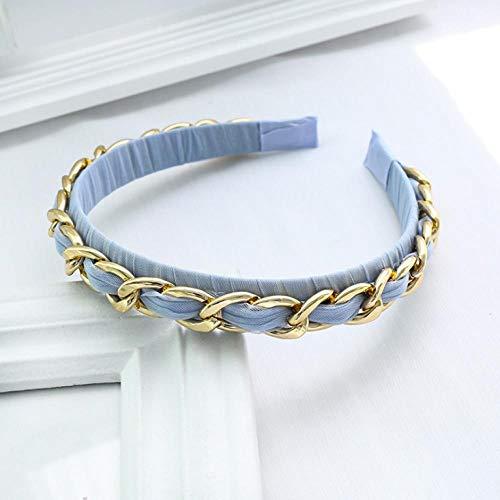 Empty Mode Douce Douce Dentelle chaîne Bandeau en métal Femmes Anneau de Cheveux Accessoires de Cheveux Cadeau-Bleu