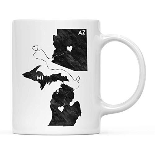 N / A Kaffeetasse Langstreckengeschenk, Michigan und Arizona, Schwarz-Weiß-Moderne, 1er-Pack, Abwanderung Abschluss University College Geschenke für ihn Ihre Beziehungen