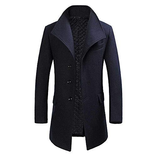 CRWOOL Hommes l'hiver Manteau Hiver Long Trench Coat Slim Outerwear pour Les Voyages de ski et de Marche en Automne et en Hiver M-3XL(crct083),Blue,2XL