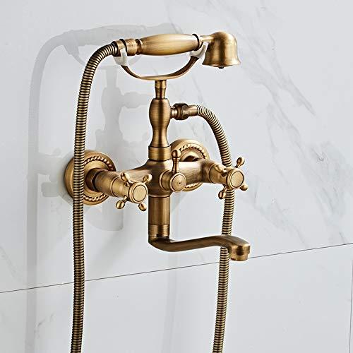 AXWT Cuarto de baño H59 Cepillado Bronce Simple Ducha Montado Doble Handle Ducha Mano Teléfono Teléfono Teléfono Teléfono Teléfono Teléfono con Gorra Gorra Caliente (tamaño : Si)
