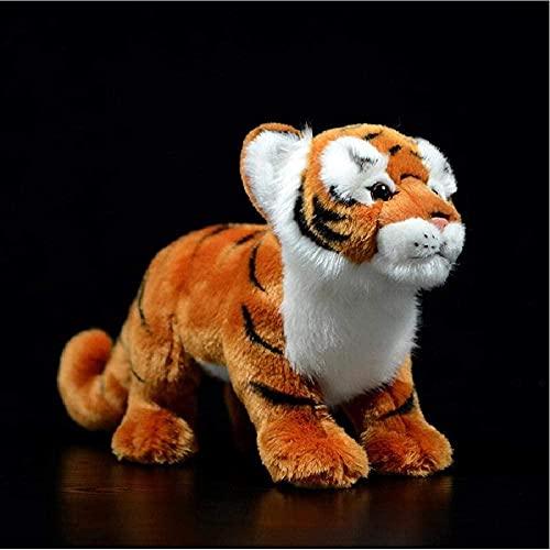 Simulación de Tigre de Peluche de Juguete de Peluche Suave y Realista Panthera Tigris Doll Lindo Modelo de Animal Realista para Regalo de cumpleaños Infantil Nariz a Trasero Longitud: 28Cm