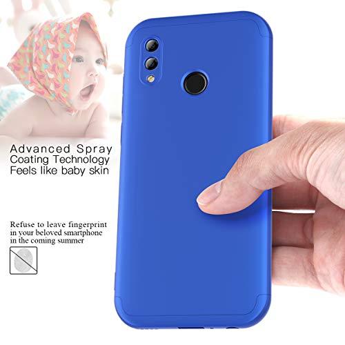 Winhoo Kompatibel mit Huawei Honor 10 Lite Hülle Hardcase 3 in 1 Handyhülle 360 Grad Schutz Ultra Dünn Slim Hard Full Body Case Cover Backcover Schutzhülle Bumper - Blau - 3