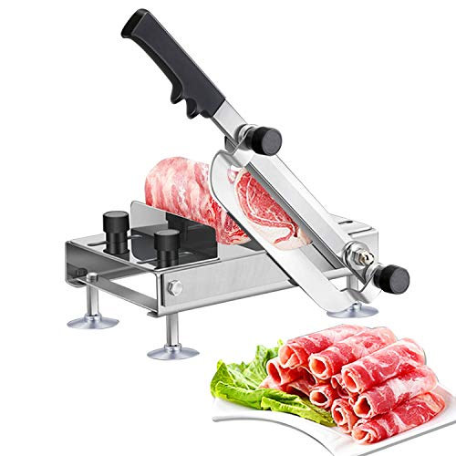 BAOSHISHAN Frozen Meat Slicer Manual Meat Slicers Stainless Steel Ginseng Cutter for Home Use Beef Mutton Roll Bacon Cheese Nougat Deli Shabu Shabu Hotpot