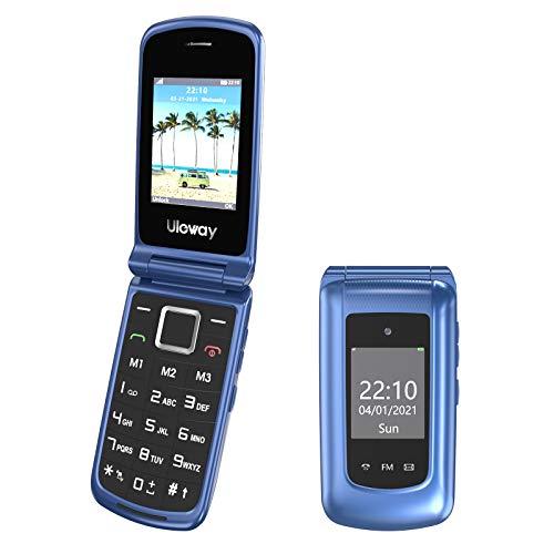 Uleway 3G Teléfono Móvil para Personas Mayores, Teléfono Móvil con Teclas Grandes Doble Pantalla de 2,4 y 1,77 Pulgadas, Móvil con Tapa Botón de Emergencia SOS Doble SIM Radio FM Linterna - Azul