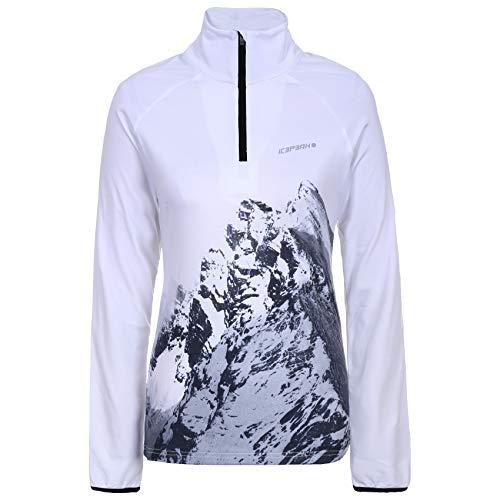 Icepeak Finley 1/2 Zip - Sudadera de esquí para mujer, color blanco y gris, tamaño extra-large