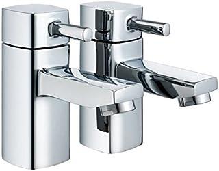 "Modern Chrome Square 1/2"" Bathroom Basin Taps (Hot & Cold Twin)"