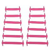 5Five Elastische Silikon-Schnürsenkel für Kinder, Set mit 12Stück, rose