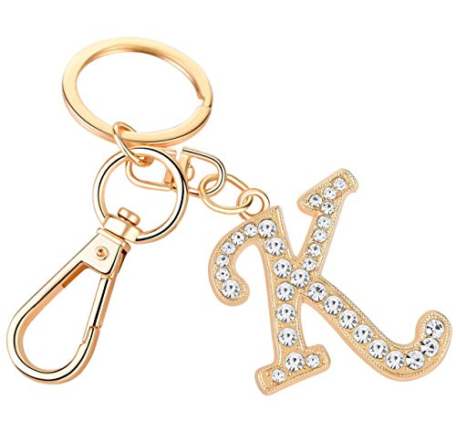 Giftale Women Rose Gold Plated Alloy Car Key Ring with Crystal Rhinestone Alphabet Initial Letter Keychain Size L,Letter K