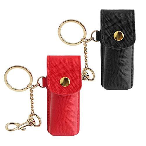 6Wcveuebuc Paquete de 2 llaveros Chapstick de cuero mini lápiz labial tubos almacenamiento organizador portátil cosméticos joyería titular bolsa
