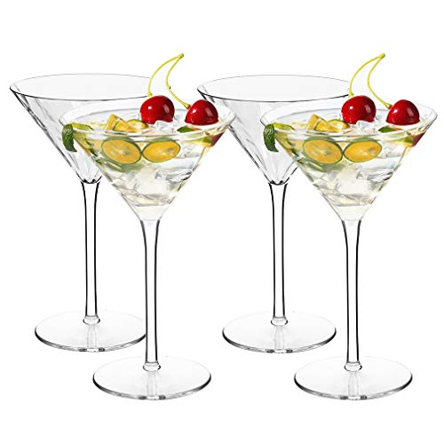 MICHLEY Juego de Vasos de Martini de cóctel irrompibles de plástico Tritan, Aptos para lavavajillas y sin BPA, Patrón de Diamante 260 ml,Juego de 4