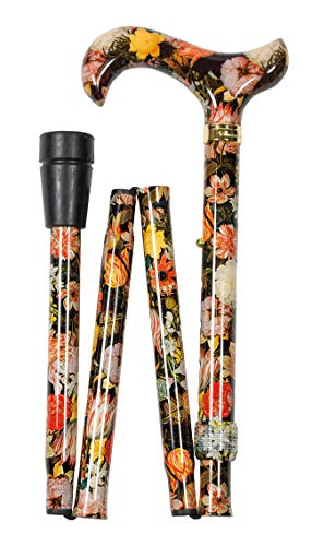 Palo plegable de diseño, multicolor, moderno, altura regulable, mango Derby, metal ligero, anillo de latón, para hombre y mujer, tope de goma.