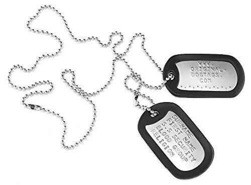 Placas de identificacin personalizadas, estilo militar, en relieve, personalizables