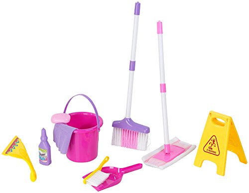 Playtastic Putzset Kinder: Spielzeug-Putz-Set für Kinder, 10-teilig (Putzutensilien für Kinder)