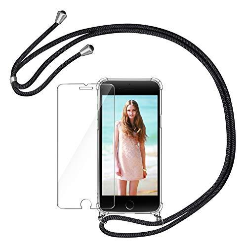AROYI Handykette Handyhülle & Panzerglas Schutzfolie kompatibel mit iPhone 7 Plus mit iPhone 8 Plus Hülle mit Kordel Umhängen Necklace Band Transparent Schwarz