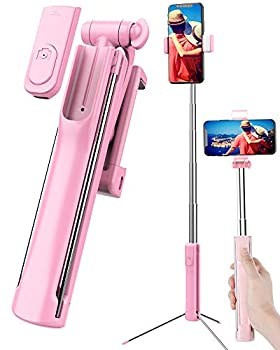 Selfie Stick Tripod Extendable Selfie Stick with Detachable Wireless Remote Shutter Travel Video Tripod Stand Cell Phone Mount Holder and Fill Light Compatible with Smart Phone Android  Pink