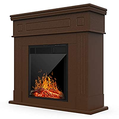 KUPPET 44 Inches Electric Fireplace Mantel - Freestanding Fireplace Heater, TV Stand with Realistic Flame and Remote Control