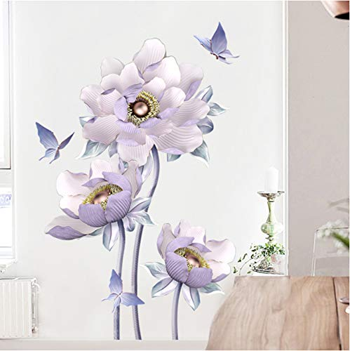 Diy 3D Lotus Flying Butterfly Purple Flower Sticker For Living Room Decal Wall Painting Room Decoration Adhesive Wallpaper 100X65Cm