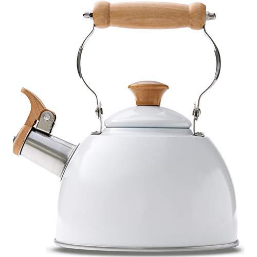 ROCKURWOK Tea Kettle Stovetop Whistling Teapot White, Stainless Steel, 1.6-Quart