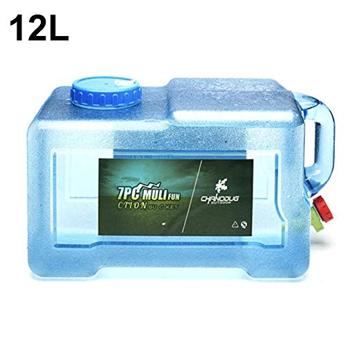 perpetualu Wasserspeichereimer Im Freien, 12L Outdoor-Eimer In Lebensmittelqualität Quartet-Eimerwagen Selbstfahrender Mineralwasserspender Transparenter Aufbewahrungseimer