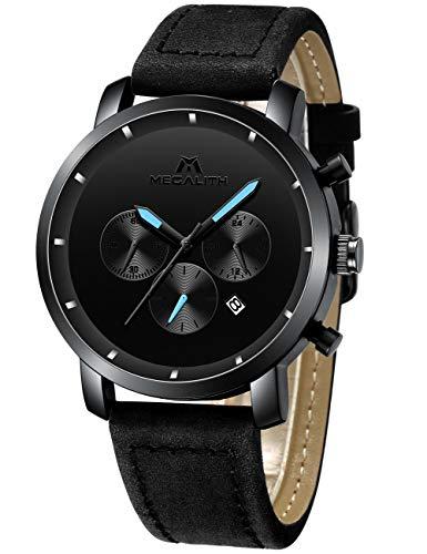 MEGALITH Relojes Negro Hombre Reloj de Pulsera Militar Deportivo Impermeable Grandes Cronógrafo de Acero Inoxidable Reloj para Hombres Moda Analógico Negocios Día Fecha