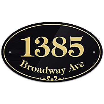 """Customized and Personalized Home Address Sign 7  x 11 3/4  1/8"""" Thick AlumaBond Easy Mounting Rust-Free/Fade Resistance Indoor/Outdoor Prestige Oval Collection USA Made by MY SIGN CENTER"""