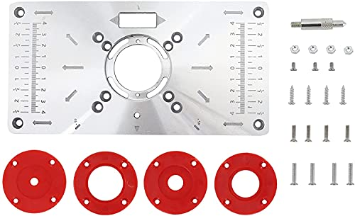 Placa de Mesa para Fresadora, Placa de Tabla Inserción Mesa Router, Bancos de Carpintería de Aluminio Máquina de Grabado con 4 Anillos por Poweka