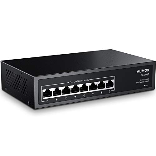 Aumox 8 Port Gigabit POE Switch, 8 Port POE 120W, Gigabit Ethernet Unmanaged Network Switch, Plug and Play, Sturdy Metal Housing, Traffic Optimization (SG308P)