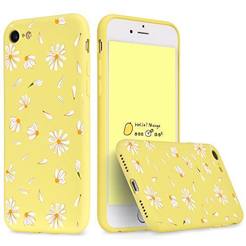 Idocolors Für iPhone 6 Plus / 6s Plus Hülle Flüssig Silikon Gelb Blumen Design, Handyhülle Weiches Mikrofaserfutter & Bumper Rundumschutz, Dünn Stoßfest Schutzhülle Case Cover-Gänseblümchen