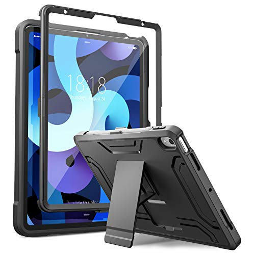 DTTO iPad Air 4 Case 2020, Shockproof Dual Layer Full Body Protection Cover with Built-in Screen Protector for Apple iPad 10.9 Inch - Black