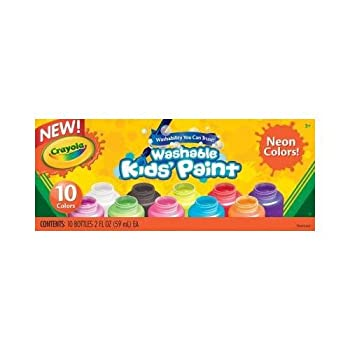Crayola Washable Kids' Paint Neon Colors 10 ea 2 oz