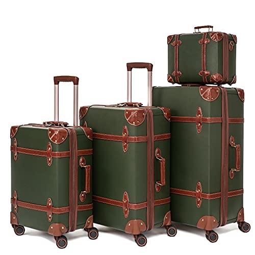 urecity Vintage Set valigia viaggio Nessuna fibbia carino set di valigie rigide ultraleggero con serratura TSA e 8 ruote (Verde esercito, 14'&20'&24'&28')