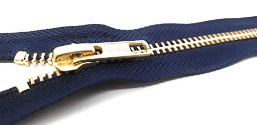 YKK RGC-56 Nicht teilbarer Reißverschluss aus Metall in Gold mit Zipper Marine 14 cm