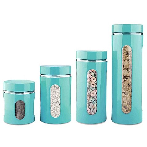 Home Basics 4-Piece Stainless Steel Canister Set in Turquoise