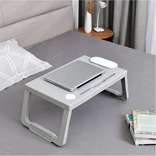 Folding Laptop Table Notebook Desk Breakfast Serving Bed Trays Adjustable Foldable with Pen Slots/Cup Holder Computer Desk Stand 59*36*28cm-Gray