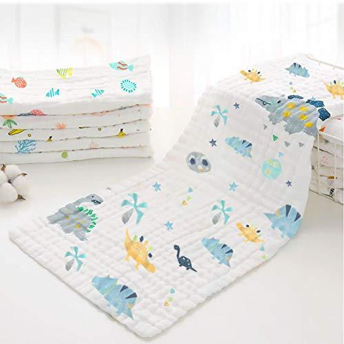 Caiery 4 PCS Asciugamani da bagno per bambini 25cm*50cm, extra morbidi, in mussola di cotone organico naturale, per pelli sensibili, 6 Sei strati/Criptata