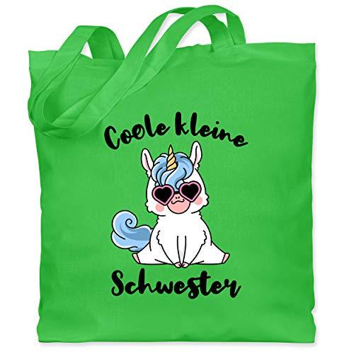 Shirtracer Geschwister Schwester - Coole kleine Schwester mit Einhorn - Unisize - Hellgrün - coole geschenke für schwester - WM101 - Stoffbeutel aus Baumwolle Jutebeutel lange Henkel