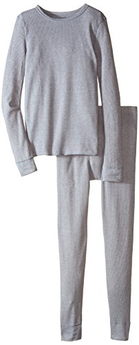 Fruit of the Loom Big Boys' Waffle Thermal Underwear Set, Light Grey Heather, 14/16