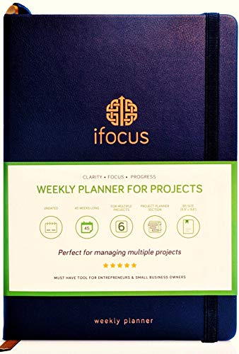 Ifocus Project Planner Notebook for Business 2020-21 Organized to-do List for Work. Undated Project Organizer for Weekly Monthly Daily Task - Productivity Planner for Entrepreneurs Women