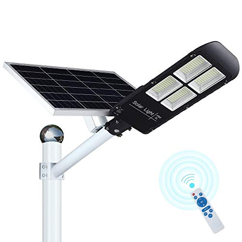 300W LED Solar Street Lights Outdoor, 484 LEDs Dusk to Dawn Security Flood Light with Remote Control & Pole, Wireless, Waterproof, Perfect for Yard, Parking lot, Street, Garden and Garage