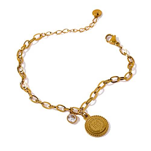 Exquisita Pulsera Colgante Redonda De Acero Inoxidable Para Mujer Exquisita Pulsera De Oro Con Circonita Cúbica Yh1744Agold