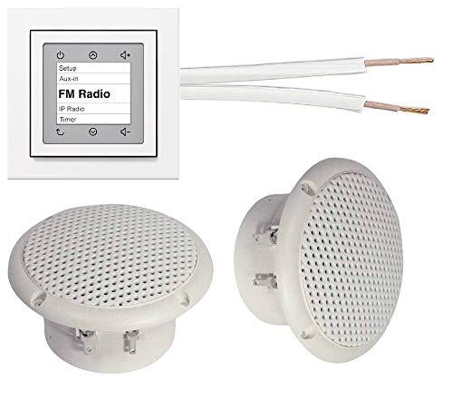 Berker Radio Unterputzradio (Einbauradio) 28848989 polarweiß glänzend Komplett-Set + 2 x Deckenlautsprecher weiß (Feuchtraum/Badezimmer) + 20 m Lautsprecherkabel