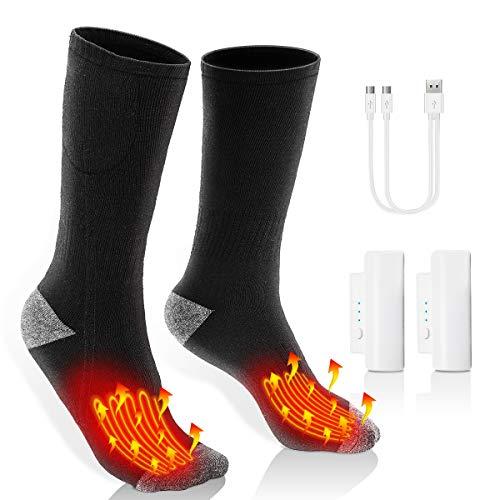 HolySpirit Heated Socks, Rechargeable Thermal Socks, Battery Powered Foot Warmer, Unisex Electric Heated Socks for Winter Camping Skiing Hunting, 3 Heating Modes, Breathable, Washable
